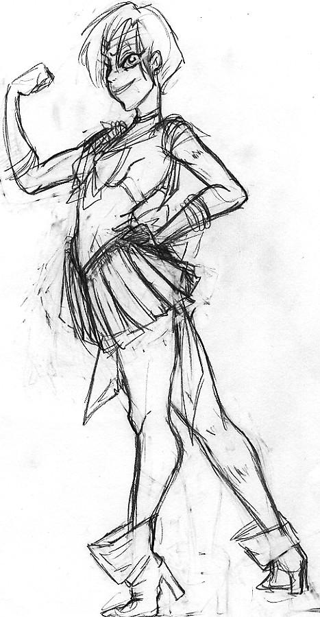 Sailor Uranus Sketch by SilverTallest