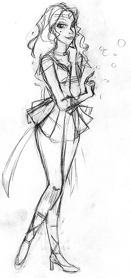 Sailor Neptune Sketch by SilverTallest