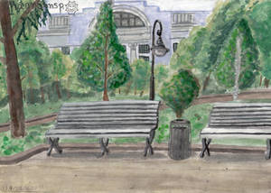 Park view: benches and lantern