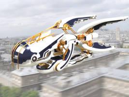 Sky Orca Airship by pangeranberbajuputih