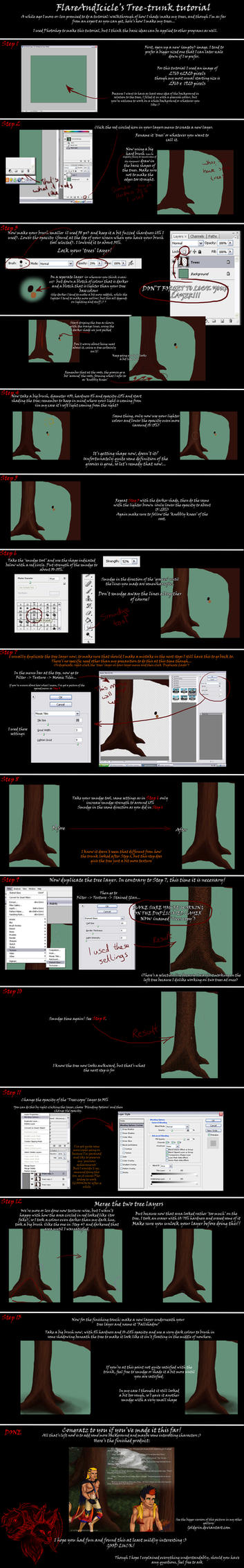 Easy Tree Trunk Tutorial by FlareAndIcicle