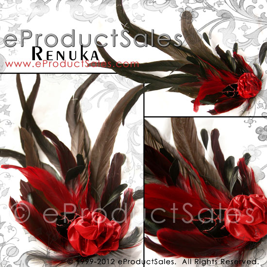 Renuka Feather Fascinator Hair Clip by eProductSales