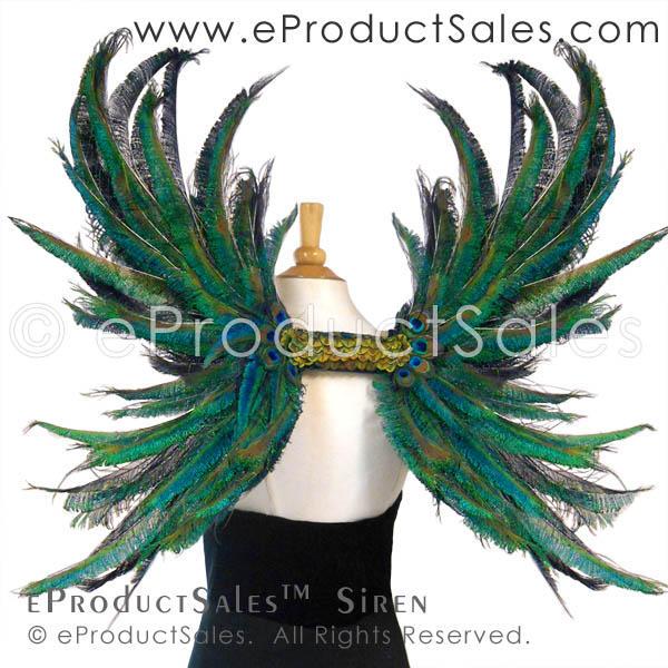 eProductSales Siren Iridescent Peacock Feather Art