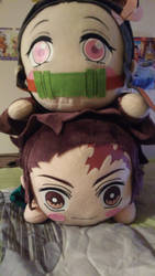 Tanjiro x Nezuko plushies by landra15