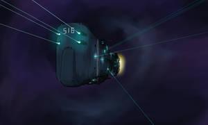 UN space battleship Oslabia in action
