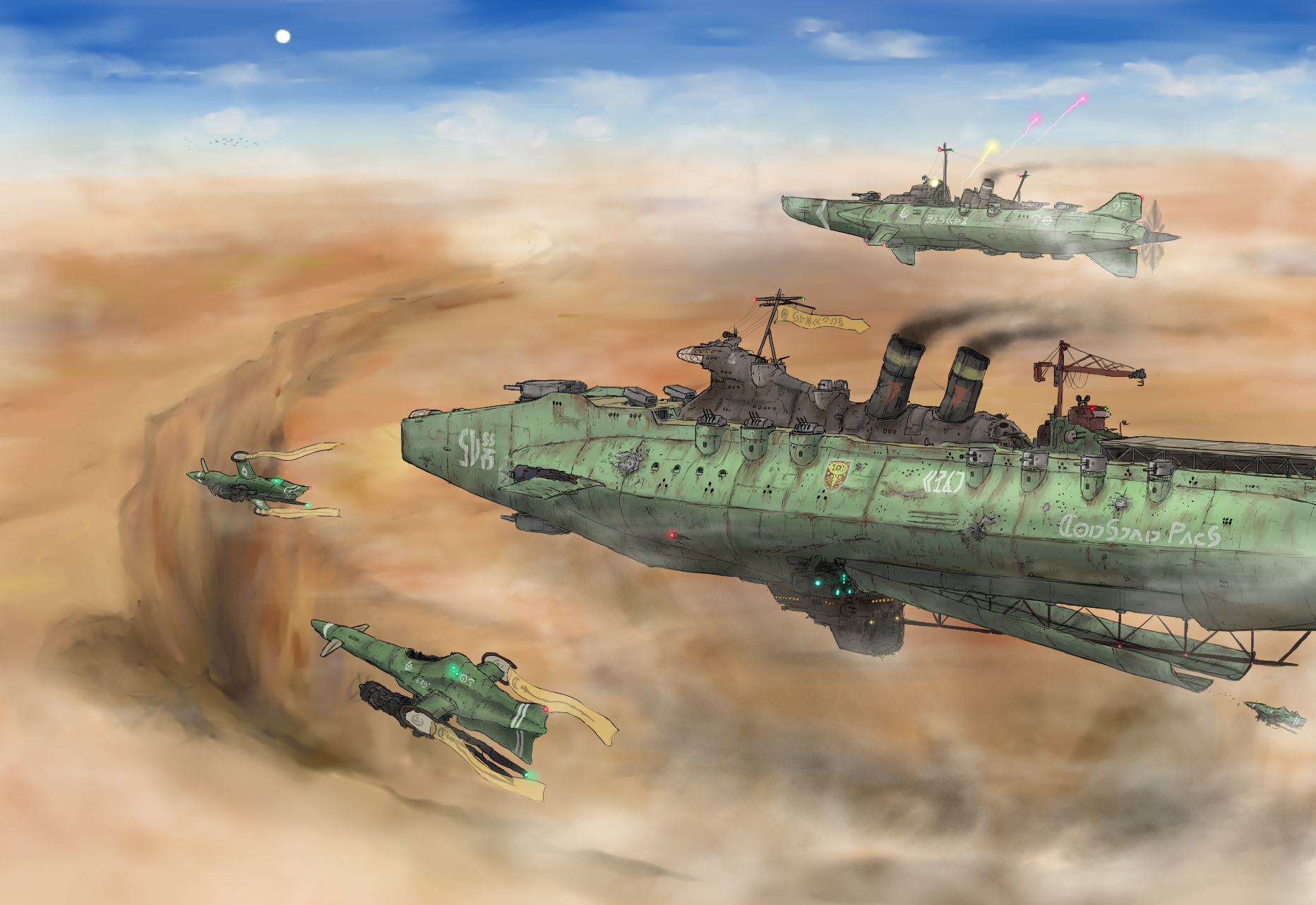 Old-fashioned Carrier, destroyer and intercepters by Waffle0708