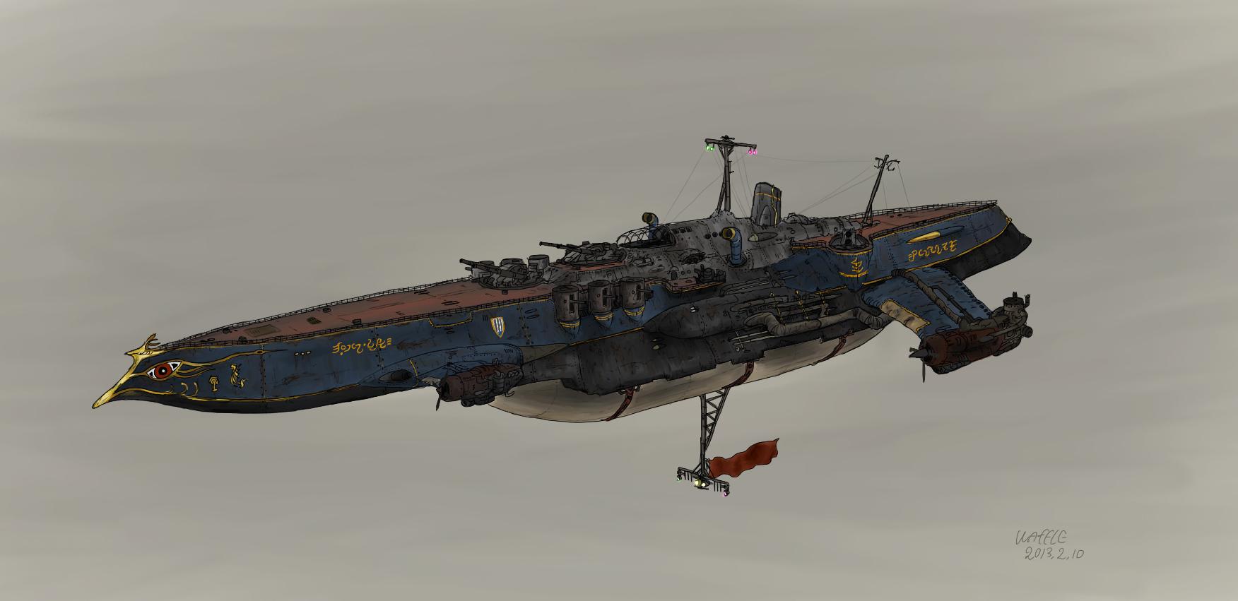 Armed aerial steamship Cygnet by Waffle0708