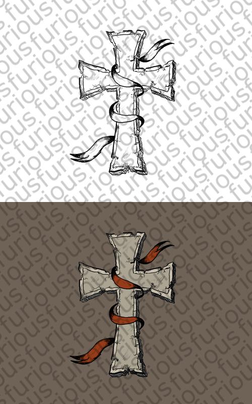 Cracked Skin Cross Tattoo Design