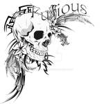 Tribal Skull and Flowers