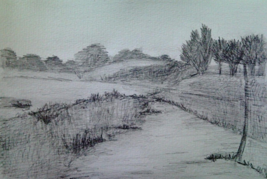 Pencil Sketches of Landscapes Landscape Sketch by Dania987