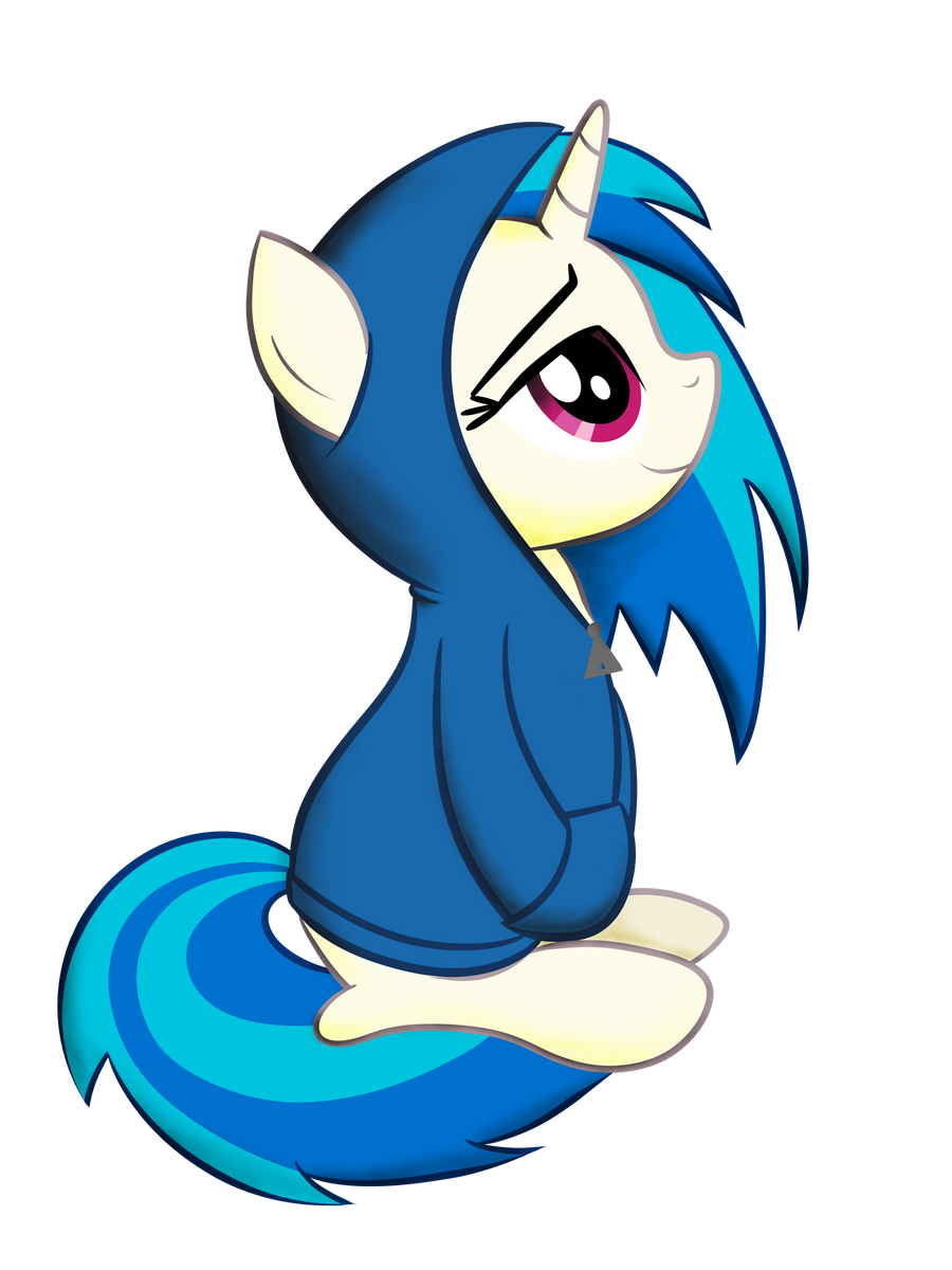 Vinyl Scratch in a Hoodie by drawponies