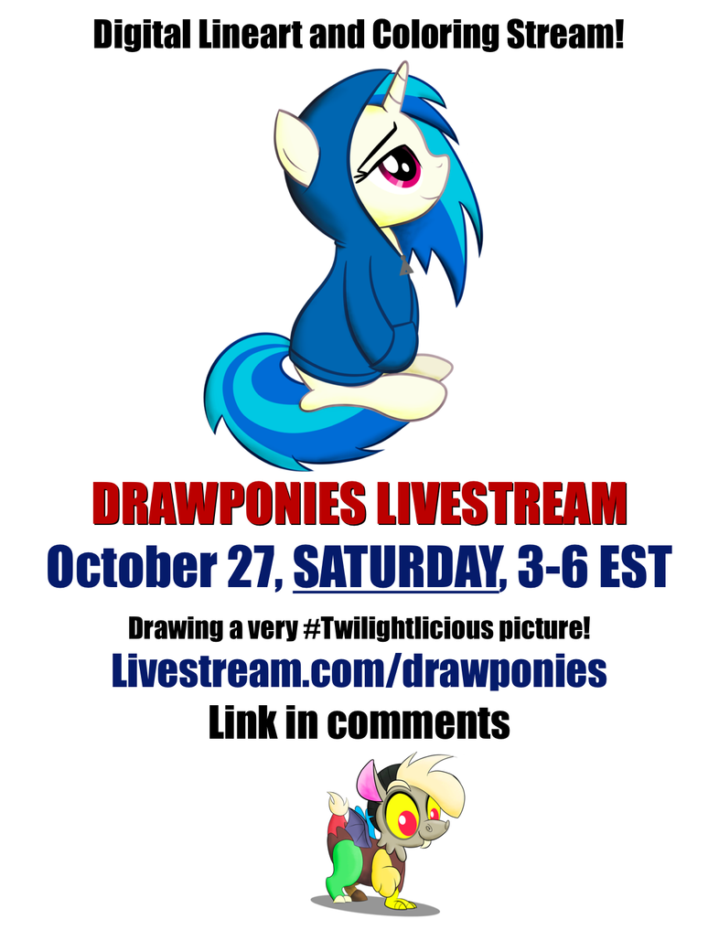 Livestream SATURDAY October 27 from 3 to 6 pm EST by drawponies