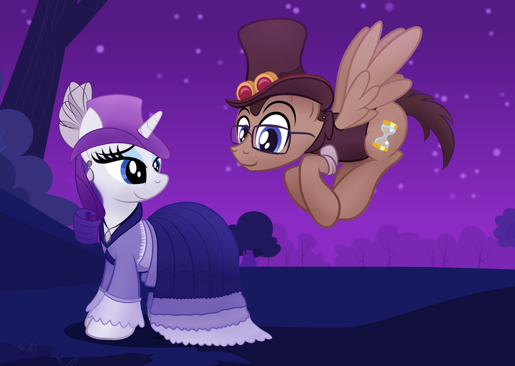 Steampunk Rarity and Doctor Whooves by drawponies
