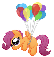 Scootaloo and Balloons by artwork-tee