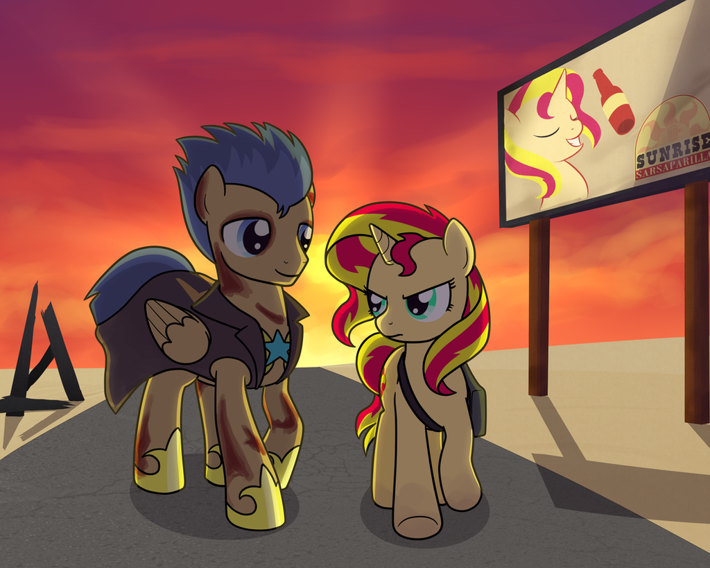Fallout: Equestria Flash Sentry and Sunset Shimmer by drawponies