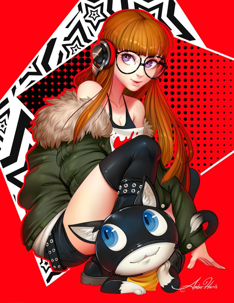 P5 - Futaba Sakura and Morgana by AmberHarrisArt