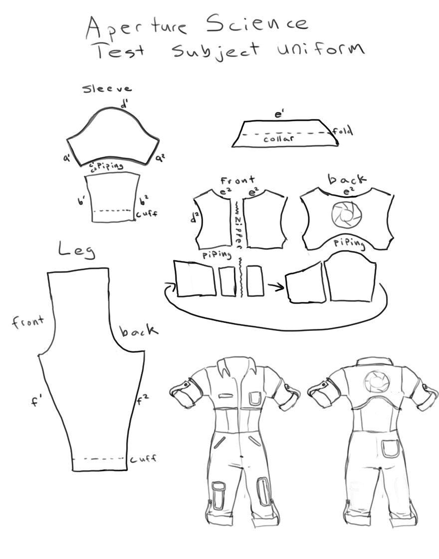 Chell costume jumpsuit pattern by Lambda2441