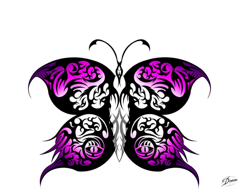Butterfly Tribal Pink by DragonBlackRoses on DeviantArt