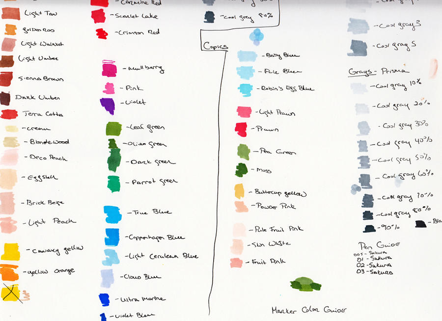 My Prisma Copic Color Chart By Ladymercury On Deviantart