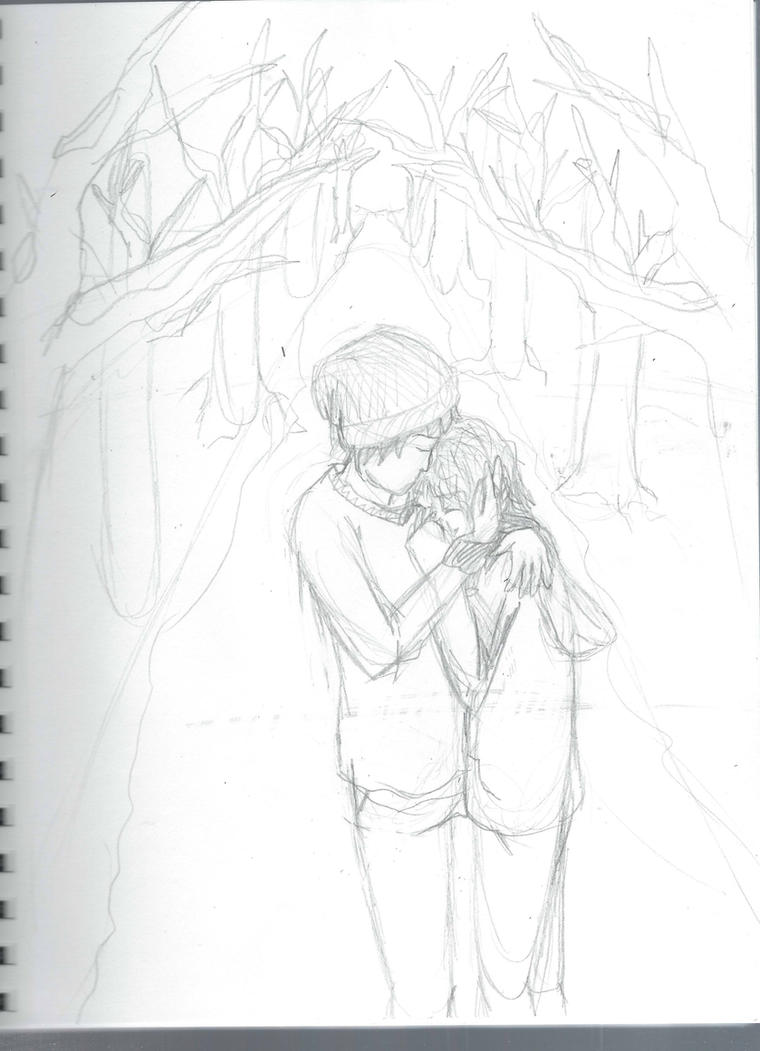 Cuddles in the snow (sketch) by vulpix15