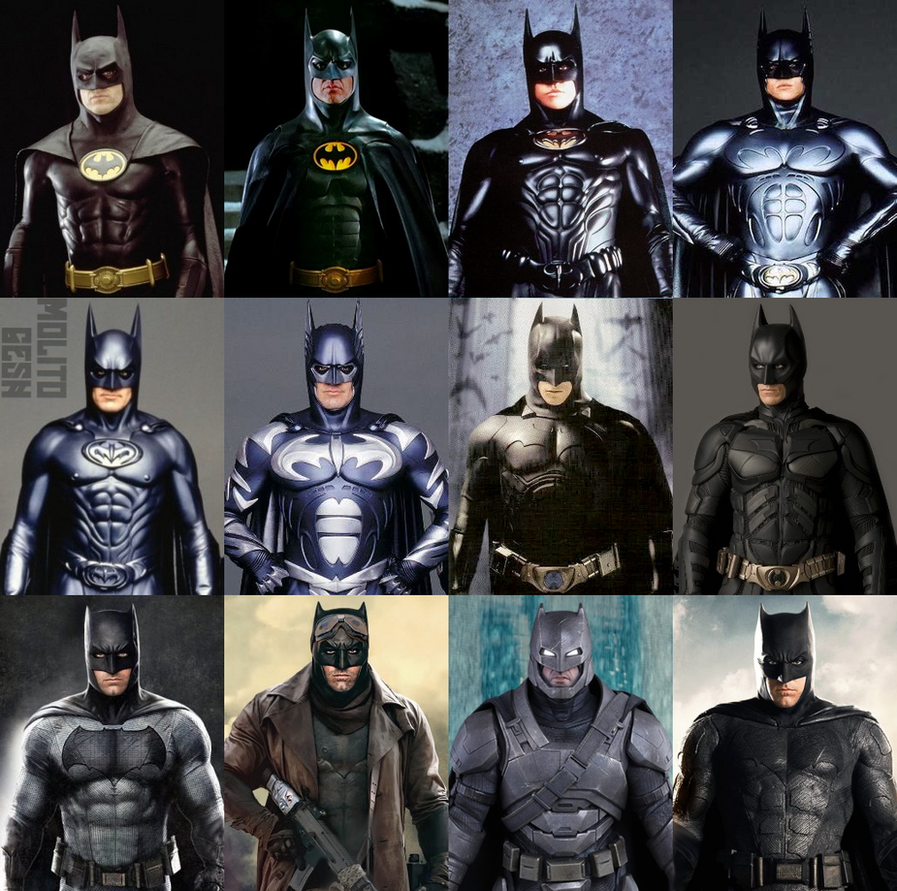 Some different batman suits all mixed together | Comics Amino