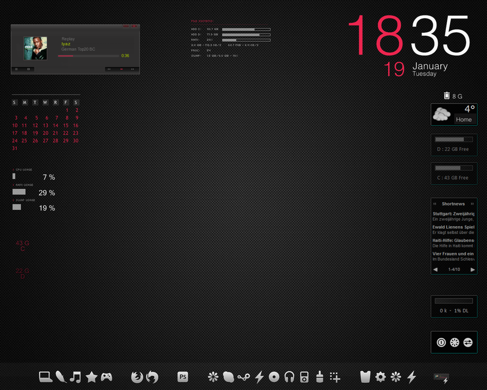 Rainmeter desktop by elefantart on deviantart for Deviantart rainmeter