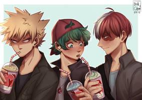 Kacchan, Deku and Todoroki (Boku no Hero Academia) by Bellchaan