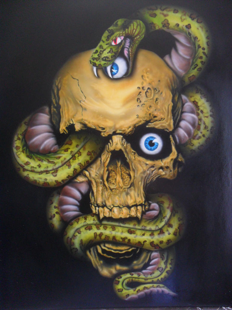 Skull and snake - Airbrush by ProAir