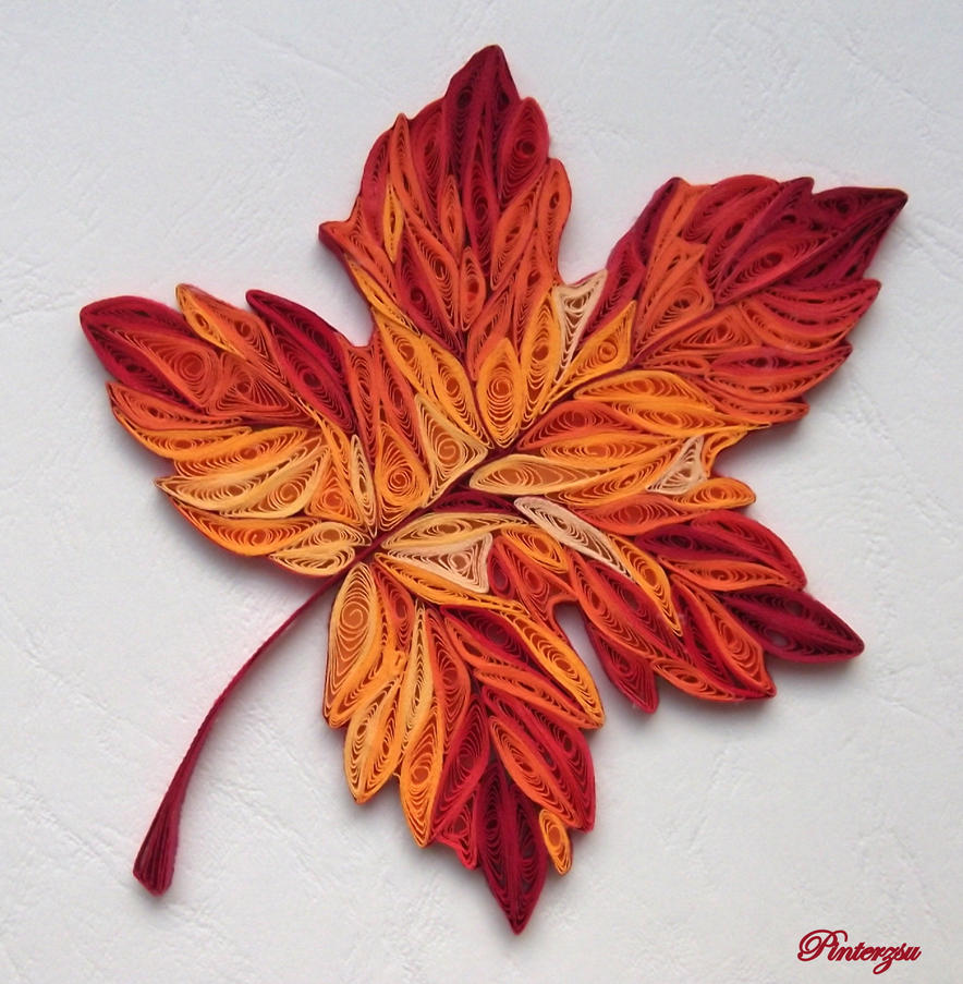 Autumn leaves by pinterzsu on deviantart for Quilling paper art