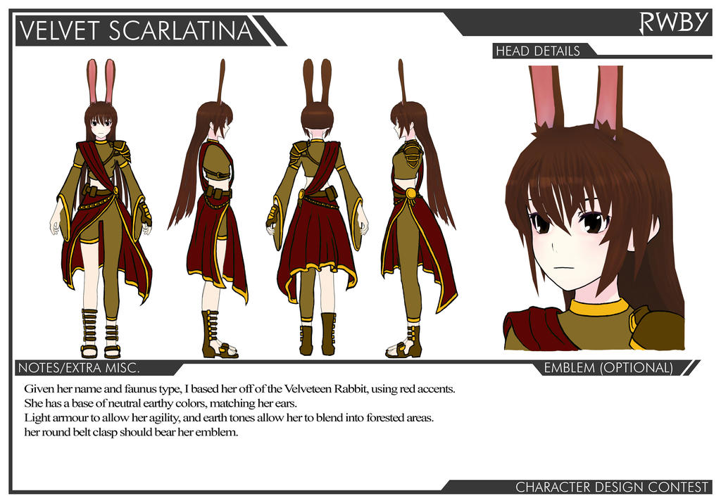 Rwby Character Design Contest : Velvet scarlatina design contest submission by