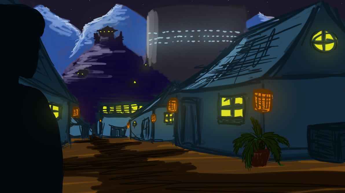 Night Oriental - Village Landscape by ZoomJet