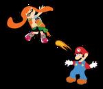 Inkling girl vs Mario