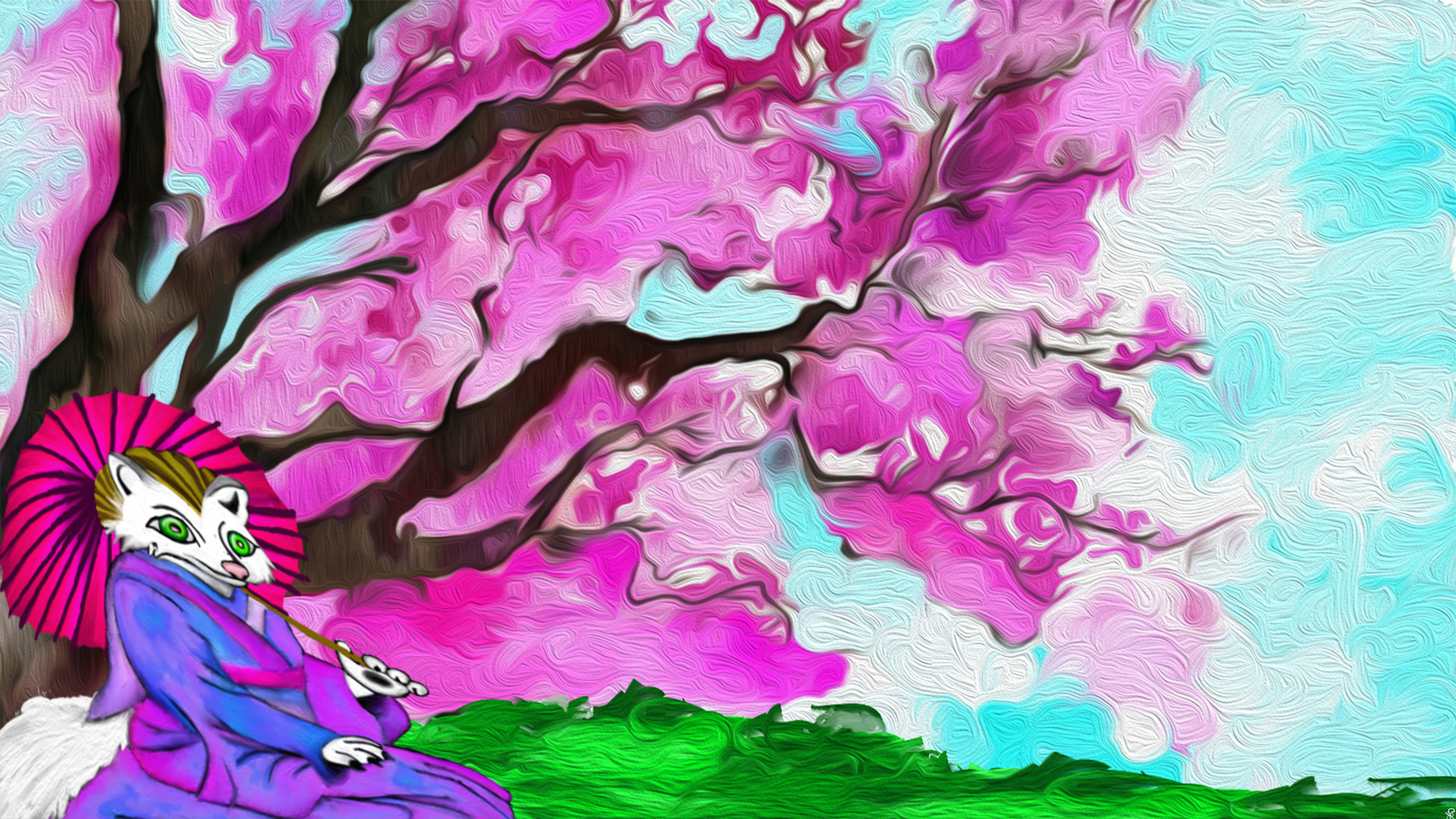 The Japans Fox Sitting By A CherryBlossom Tree by TechBehr