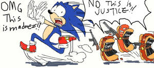 Sonic flees from SWAT by InYuJi