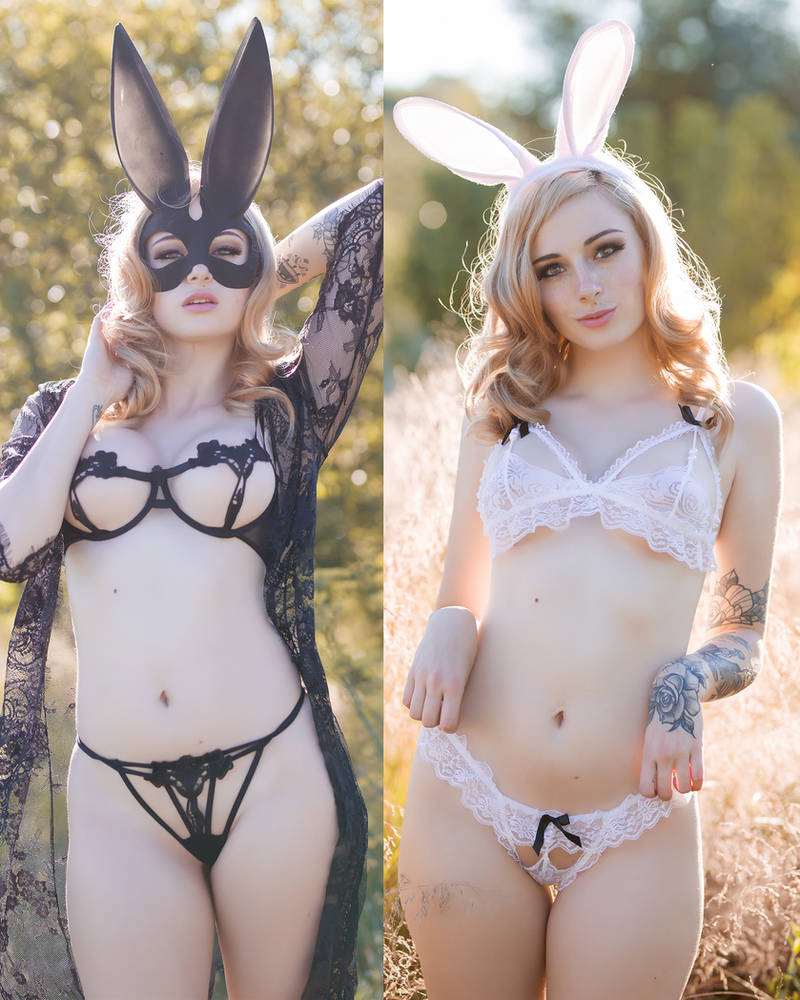 Kayla - Black and White Bunny by beethy