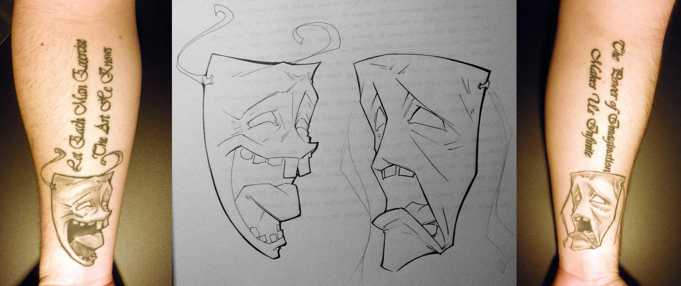 Comedy and tragedy by pocketwolverine on deviantart for Comedy and tragedy tattoo