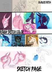 Headshot Sketches (open) by Mizuki-Claire-Rose