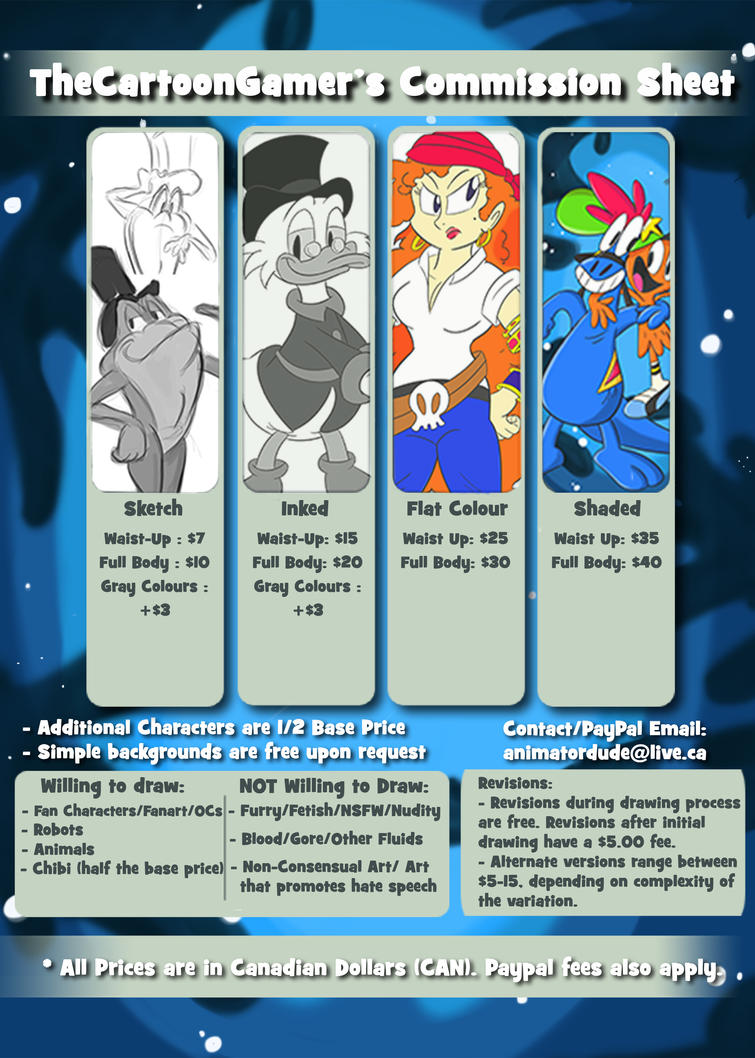 TheCartoonGamer's Commission Sheet by ImmaComicGenius