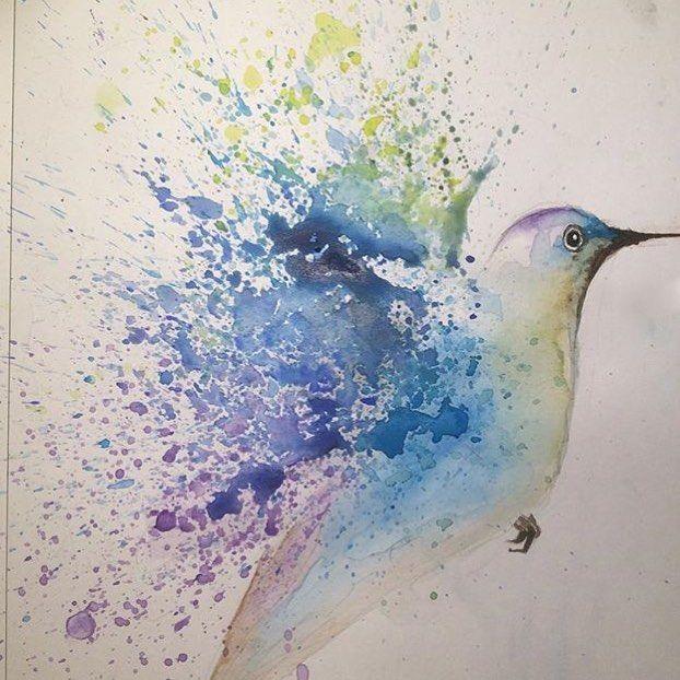 Watercolour Hummingbird by Ineffablez