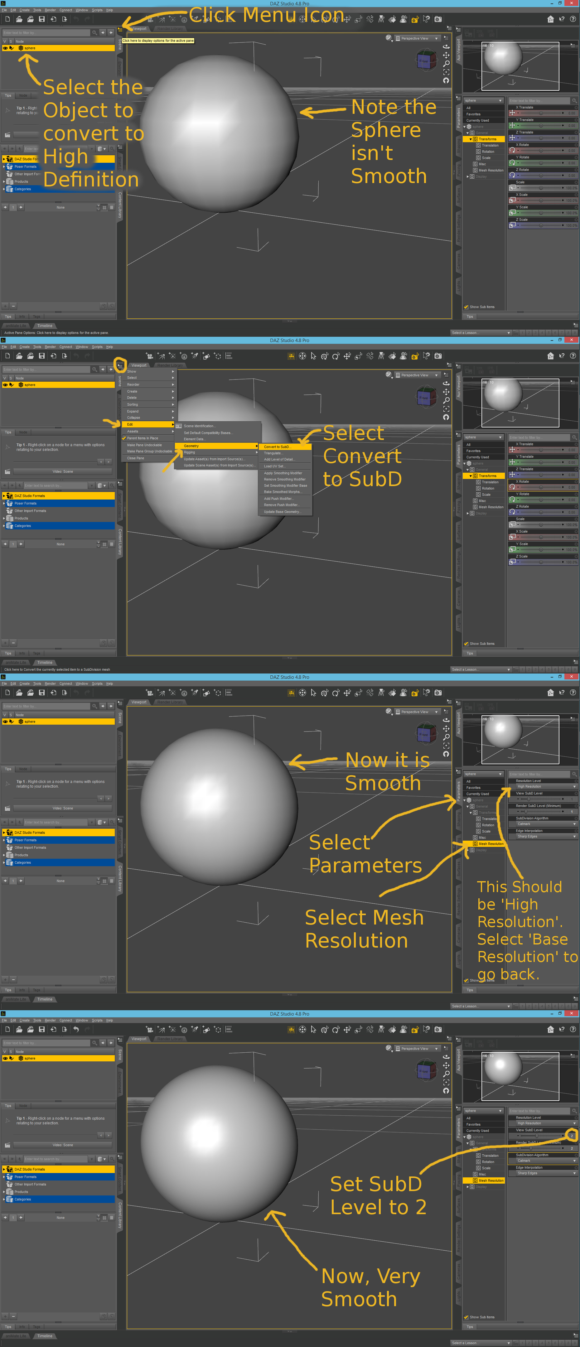 Tutorial: High Definition Daz Studio Convert SubD by demontroll