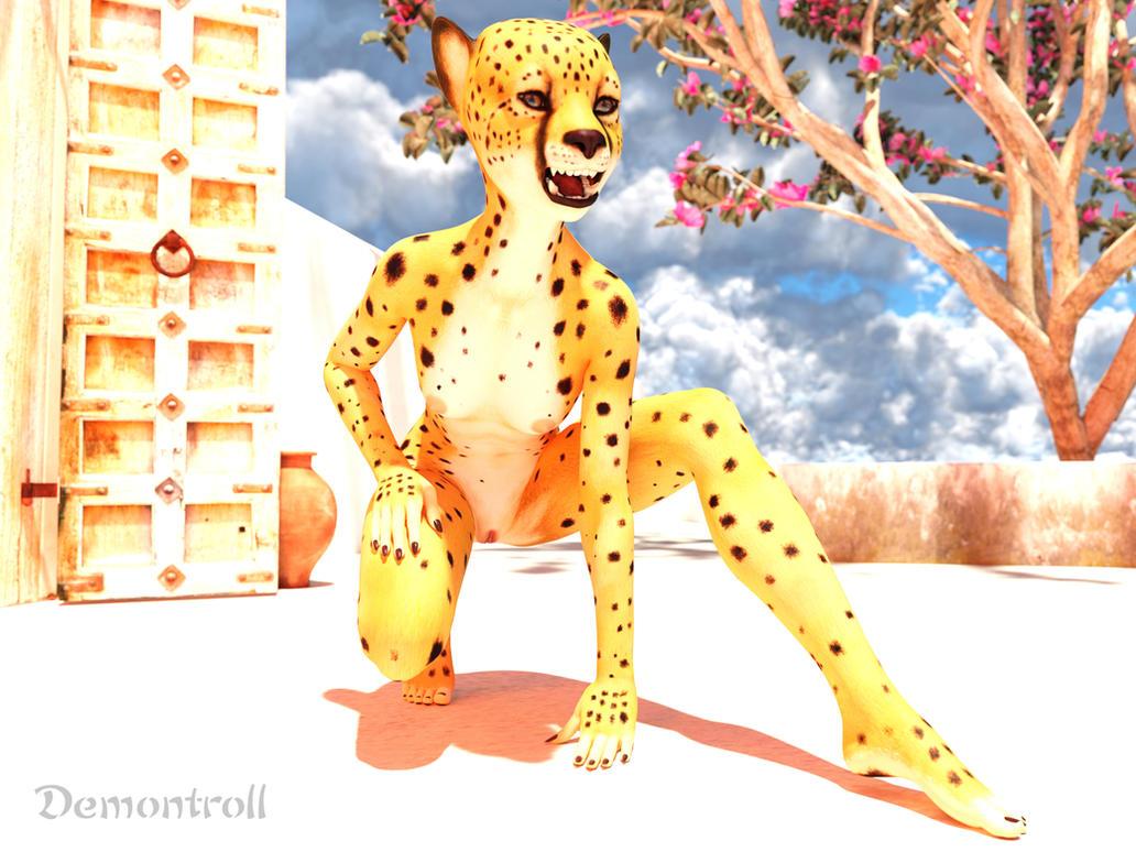 Crouching Cheetah Girl:  Rawr! by demontroll