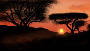 Orange Mountain Tree Shadow