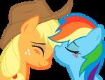 Applejack and Rainbow Dash: sweet kiss
