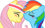 Dash and Fluttershy: sweet kiss