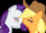 Applejack and Rarity: sweet kiss