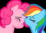 Rainbow Dash and Pinkie: sweet kiss
