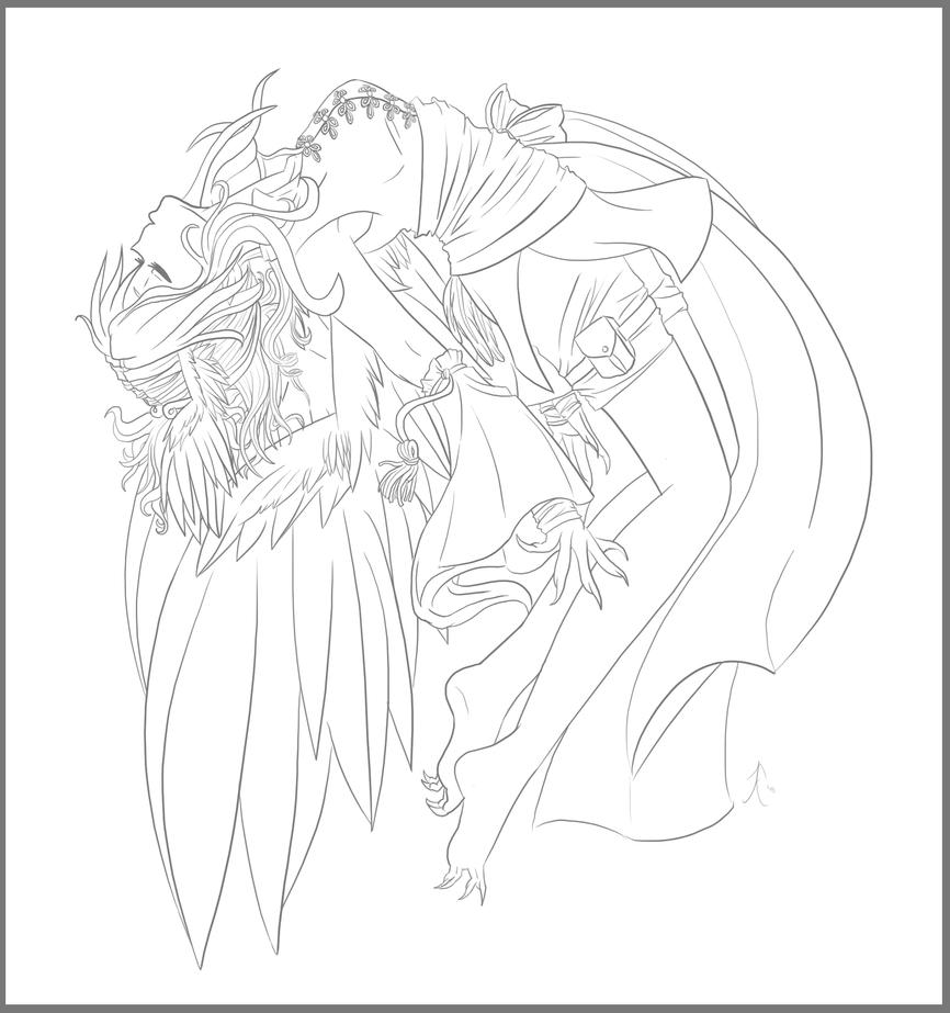 The gallery for coloring pages of anime angels for Anime angel coloring pages