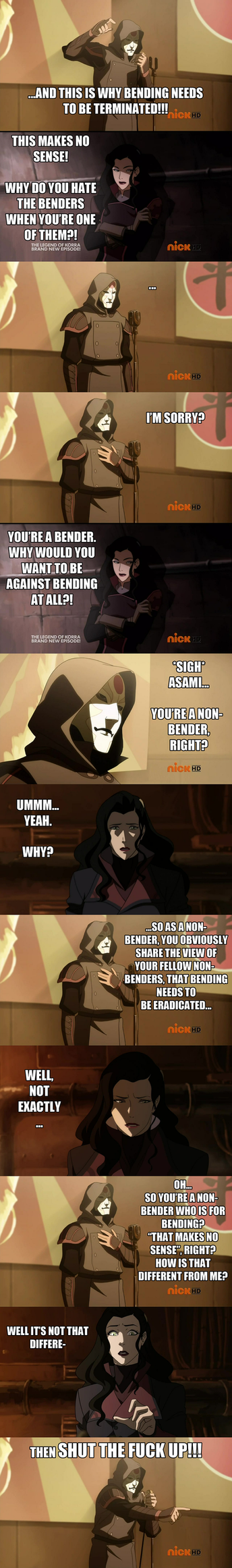 Avatar - Legend of Korra: Amon vs Asami by yourparodies