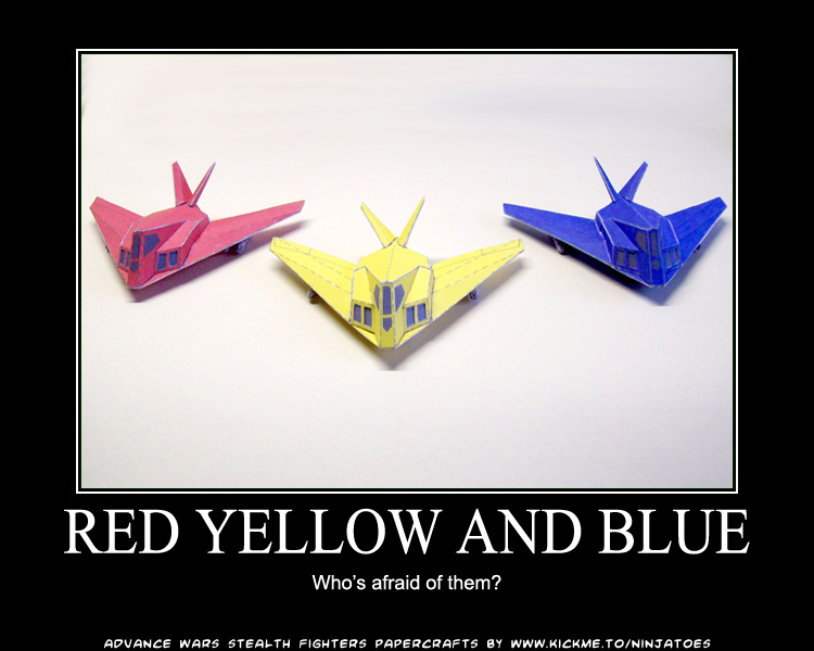 Afraid of Red Yellow and Blue? by ninjatoespapercraft