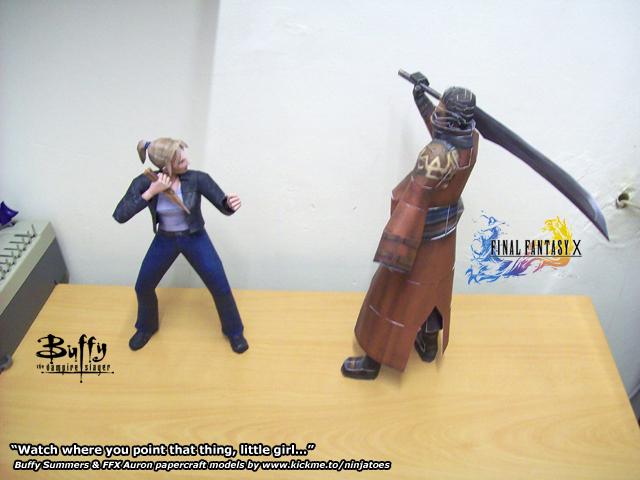Buffy vs Auron by ninjatoespapercraft